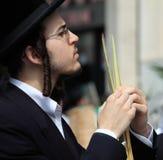 Der junge orthodoxe Jude vor dem Sukkot Stockfotos