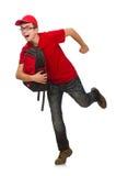 Der junge Reisende mit dem Rucksack an lokalisiert Lizenzfreie Stockfotos