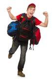 Der junge Reisende mit Rucksack Stockbilder