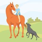 Der Junge rittlings auf einem Pferd Lizenzfreie Stockfotografie