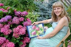Der junge schwangere weibliche Künstler zeigt Zeichnung einer blühenden Hortensie Stockbild