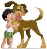 Der Junge und der Hund lizenzfreie abbildung
