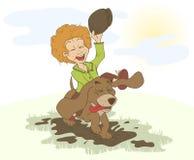 Der Junge und der Hund, die herum in die Pfützen laufen lizenzfreie abbildung