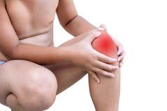 Der Junge verletzt am Knie Lizenzfreie Stockfotos