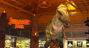 Der Juraparkdinosaurier, furchtsames Spielzeug, New York City, USA Stockbilder