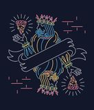 Der König des Pizzatapeten-Leuchtreklamedesigns Stockbild