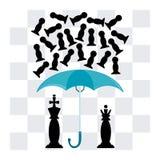 Der König und die Königin unter einem Regenschirm lizenzfreie abbildung