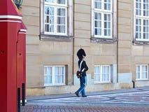 Der königliche Leben-Schutz am Amalienborg-Palast in Kopenhagen, Dänemark lizenzfreie stockbilder
