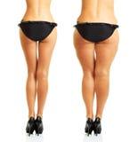 Der Körper der perfekten und fetten Frau lokalisiert stockfotos