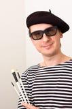 Der Künstler mit Barett und Pinseln Stockfotos