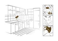 Der Kaffee und die Küche lizenzfreie stockfotos