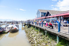 Der Kai des Fischers an Steveston-Dorf in Richmond, BC Lizenzfreies Stockfoto