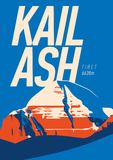 Der Kailash im Himalaja, Tibet Abenteuerplakat im Freien Gebirgsillustration stock abbildung