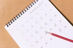 Der Kalender des neuen Jahres 2017 Stockbild