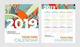 der Kalenderzusammenfassungszeitgenössischen kunst mit 2019 Taschen Vektorsatz Schreibtisch, Schirm, Tischplattenmonate 2019, bun lizenzfreie abbildung