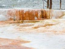 Kalkstein-Ablagerungen bei Yellowstone Lizenzfreie Stockbilder