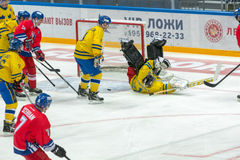 Der Kampf an den Toren des schwedischen Teams Stockbild