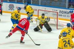 Der Kampf an den Toren des schwedischen Teams Stockfoto