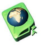 Der Kanister mit der Erde stock abbildung