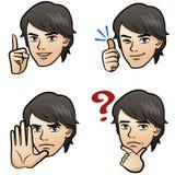 Mannsunterschiedlicher Gesichtsausdruck auf Weiß Stockfoto