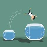 Der Karikaturgeschäftsmann, der von kleinem zu einem größeren Fisch herausspringt, rollen Stockbild