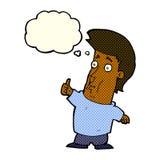 der Karikaturmann, der Daumen gibt, up Zeichen mit Gedankenblase Stockbilder