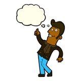 der Karikaturmann, der Daumen gibt, up Zeichen mit Gedankenblase Lizenzfreies Stockfoto