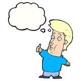 der Karikaturmann, der Daumen gibt, up Zeichen mit Gedankenblase Lizenzfreie Stockfotografie