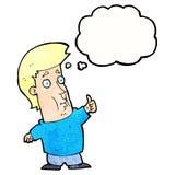der Karikaturmann, der Daumen gibt, up Zeichen mit Gedankenblase Stockfoto