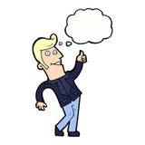 der Karikaturmann, der Daumen gibt, up Zeichen mit Gedankenblase Stockfotos