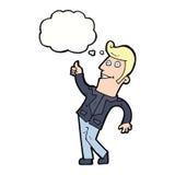 der Karikaturmann, der Daumen gibt, up Zeichen mit Gedankenblase Lizenzfreie Stockbilder