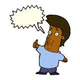 der Karikaturmann, der Daumen gibt, up Zeichen mit Spracheblase Lizenzfreie Stockfotos