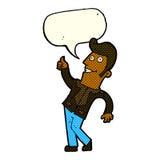 der Karikaturmann, der Daumen gibt, up Zeichen mit Spracheblase Lizenzfreie Stockfotografie