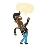 der Karikaturmann, der Daumen gibt, up Zeichen mit Spracheblase Stockfotos