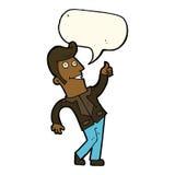der Karikaturmann, der Daumen gibt, up Zeichen mit Spracheblase Lizenzfreies Stockbild