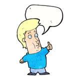 der Karikaturmann, der Daumen gibt, up Zeichen mit Spracheblase Stockbilder