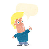 der Karikaturmann, der Daumen gibt, up Zeichen mit Spracheblase Stockfotografie