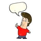der Karikaturmann, der Daumen gibt, up Zeichen mit Spracheblase Lizenzfreie Stockbilder