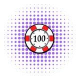 100 der Kasinochip-Dollar Ikone, Comicsart Stockfotografie