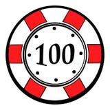 100 der Kasinochip-Dollar Ikone, Ikonenkarikatur Stockbilder