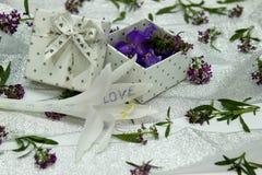 Der Kasten wird mit purpurroten Blumen auf der umfassten Oberfläche gefüllt Lizenzfreies Stockfoto