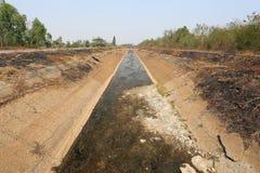 Der kein Bewässerungsabzugsgraben haben ein Wasser wegen des Dürrenwetters Lizenzfreie Stockfotos