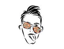 Der Kerl in den mehrfarbigen Gläsern stockbild