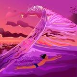 Der Kerl, der in die Welle schwimmt