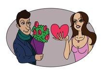 Der Kerl gibt ihr die Blumen und sie gibt ihm einen Valentinsgruß Stockfotografie