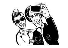 Der Kerl mit dem Mädchen fotografierte sich auf dem Smartphone Lizenzfreie Stockbilder