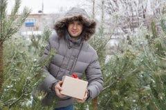 Der Kerl unter Tannenbäumen mit einem Geschenk Lizenzfreies Stockbild