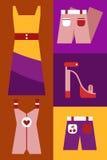 Der Kleidungsikone der Frauen gesetzte Vektorgegenstände Stockfotos