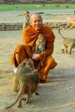 Der kleine Affe im Phra Prang Sam Yot Lopburi von Thailand Lizenzfreie Stockbilder