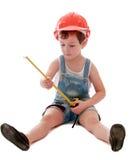 Der kleine Junge in den Denimkurzen hosen Stockbilder